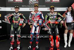Second place Jonathan Rea, Kawasaki Racing Team,  polesitter Michael van der Mark, Honda WSBK Team and third place Tom Sykes, Kawasaki Racing Team
