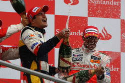 Podium: champagne for Lewis Hamilton, Nelson A. Piquet and Felipe Massa