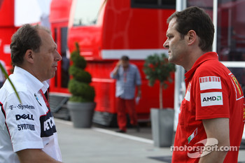 Willy Rampf, BMW-Sauber, Technical Director and Aldo Costa, Scuderia Ferrari, Chief Designer