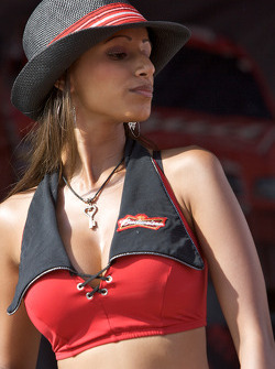 A Budweiser girl on stage