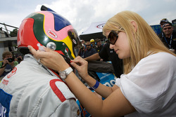 Jacques Villeneuve gets ready for his qualifying run with wife Johanna