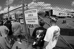 Fans watch garage activity