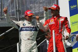 Podium: race winner Felipe Massa and third place Robert Kubica