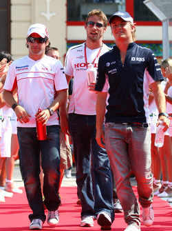 Timo Glock, Toyota F1 Team, Jenson Button, Honda Racing F1 Team and Nico Rosberg, WilliamsF1 Team