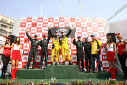 GT1 podium: class and overall winners Marcel Fassler and Jean-Denis Deletraz, second place Miguel Ramos and Alexandre Negrao, third place Andrea Bertolini and Michael Bartels