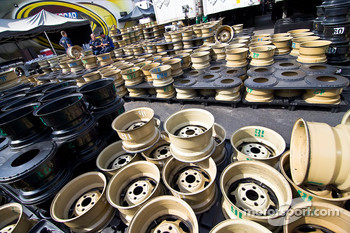 Rims sit in the infield