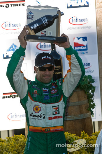 Tony Kanaan celebrates his 3rd place
