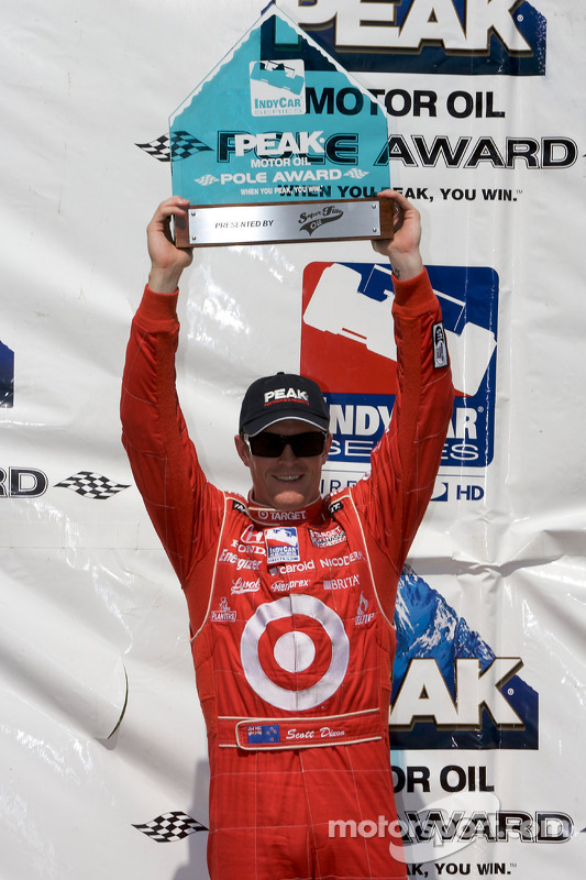 Pole winner Scott Dixon with the pole award trophy