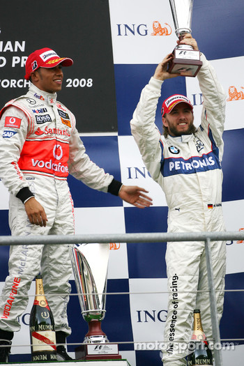 Podium: race winner Lewis Hamilton, third place Nick Heidfeld