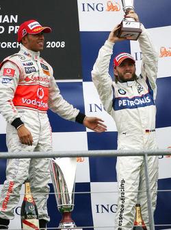 Podium: race winner Lewis Hamilton, third place Nick Heidfeld