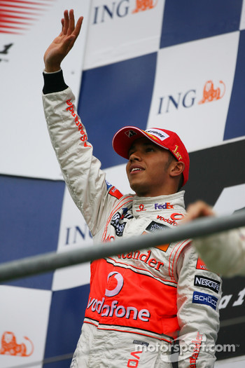 Race winner Lewis Hamilton