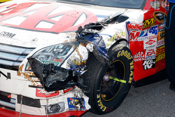 The car of David Ragan is beat and battered after the race