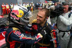 Pole winner Sebastian Vettel celebrates