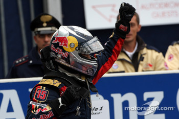 Race winner Sebastian Vettel celebrates