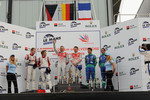 LMP1 podium: class and overall winners Allan McNish and Rinaldo Capello, second place Jan Charouz and Stefan Mücke, third place Jean-Christophe Boullion and Romain Dumas