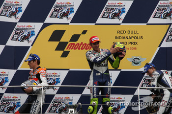 Podium: race winner Valentino Rossi, second place Nicky Hayden, third place Jorge Lorenzo