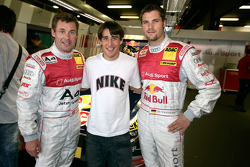 Tom Kristensen and Martin Tomczyk with Barcelona star Bojan Krkic