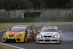 Tiago Monteiro and Alex Zanardi, BMW Team Italy-Spain, BMW 320si fight hard and crash