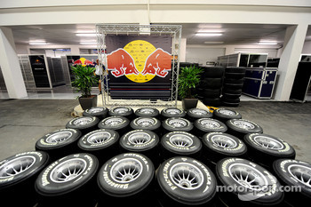 Bridgestone tyres and the Red Bull Racing interview backdrop