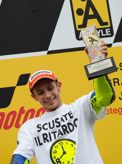 Podium: race winner and 2008 World Champion Valentino Rossi celebrates