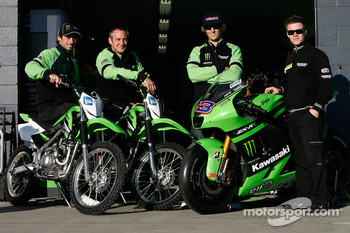 Anthony West, John Hopkins and Michael Bartholemy try out Kawasaki's KLX140 for size
