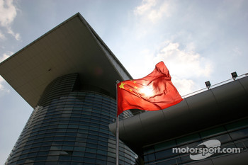 The Chinese flag in the paddock