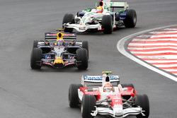 Timo Glock, Mark Webber and Rubens Barrichello