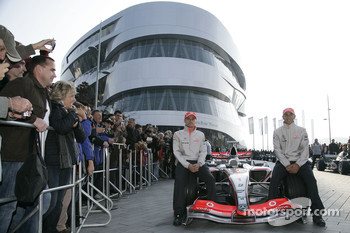 World Champion Lewis Hamilton and his Vodafone McLaren Mercedes team mate Heikki Kovalainen