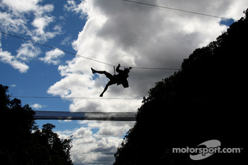 Launceston, Australia: a competitor in action on the Tyrolean rope