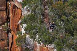 Port Arthur, Australia: competitors look on from the cliff tops