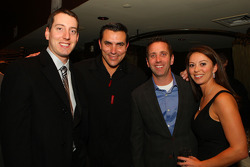 Chef and owner Todd English welcomes Kyle Busch and Greg Biffle and Biffle's wife, Nicole, to Olives New York in the W Hotel