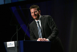 For the sixth straight year, Dale Earnhardt Jr. accepts the Chex Cereals Most Popular Driver Award, during the 2008 NASCAR NMPA Myers Brothers Media Luncheon at Cipriani
