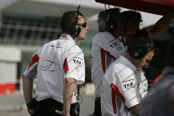 The DAMS team watch the action from the pit wall
