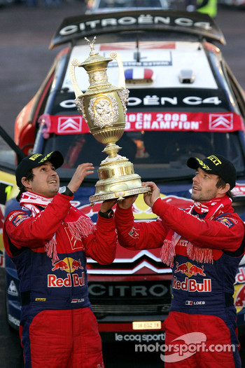 Podium: rally winners Sébastien Loeb and Daniel Elena