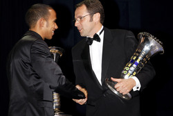 FIA Formula 1 World champion Lewis Hamilton, and FIA Formula 1 World Championship winning constructor Ferrari Team director Stefano Domenicali