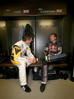 Jason Plato and David Coulthard in the drivers' briefing