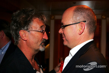 Eddie Jordan and HSH Prince Albert of Monaco on the Fly Kingfisher boat party on the Indian Empress