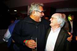 Dr Vijay Mallya Force India F1 Team Owner with Bernie Ecclestone F1 Supremo at the Fly Kingfisher Boat Party