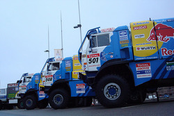 Team Kamaz Master trucks at scrutineering
