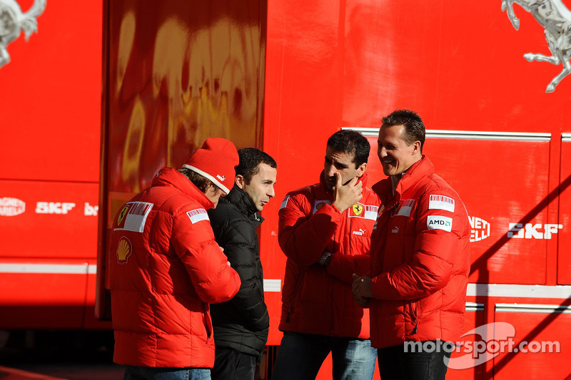 Luca Badoer, Test Driver, Scuderia Ferrari with Nicolas Todt, Manager of Felipe Massa, Marc Gene, Test Driver, Scuderia Ferrari and Michael Schumacher
