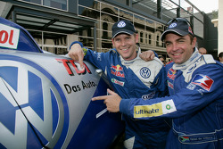 Car category winners Giniel De Villiers and Dirk Von Zitzewitz celebrates