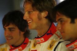 Fernando Alonso, Romain Grosjean and Nelson A. Piquet