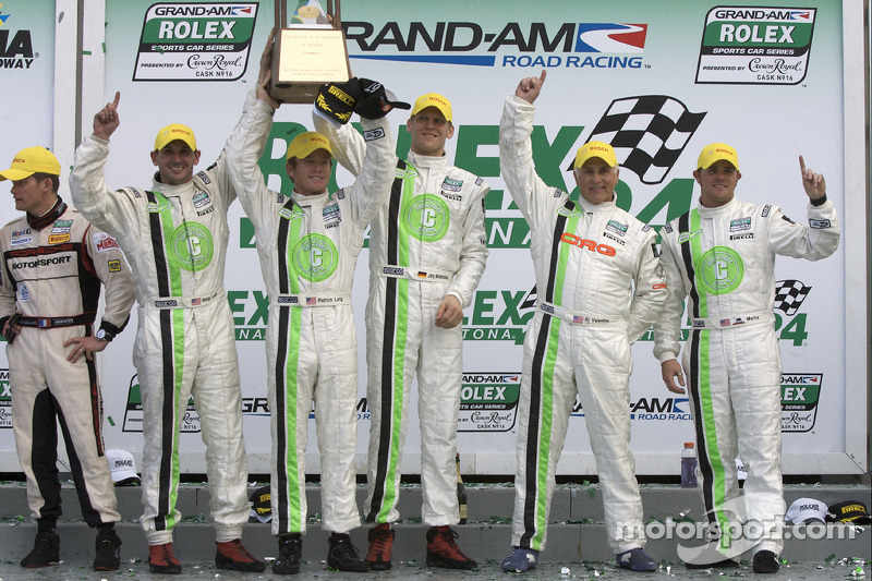 GT podium: class winners Jorg Bergmeister, Andy Lally, Patrick Long, Justin Marks and RJ Valentine