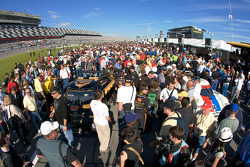A big crowd on pit road during pre-race ceremony