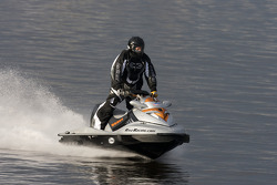 Roy 'Zee' Olgetree rides on Lake Lloyd to attempt to break the Guiness record for the number of miles ridden in 24 hours