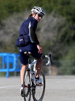 Fernando Alonso, Renault F1 Team, goes for a bike ride