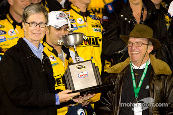 Victory lane: John Henry and Jack Roush celebrate