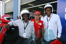 MEC Mandla Nkomfe with Felipe Massa and Chairman of Gauteng motorsport company Mogopodi Mokoena