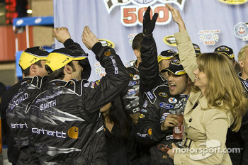 Victory lane: Katie Kenseth celebrates with Roush Fenway Racing Ford crew members