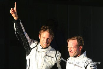 Pole winner Jenson Button, Brawn GP, second place Rubens Barrichello